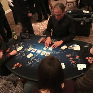 a group playing black jack