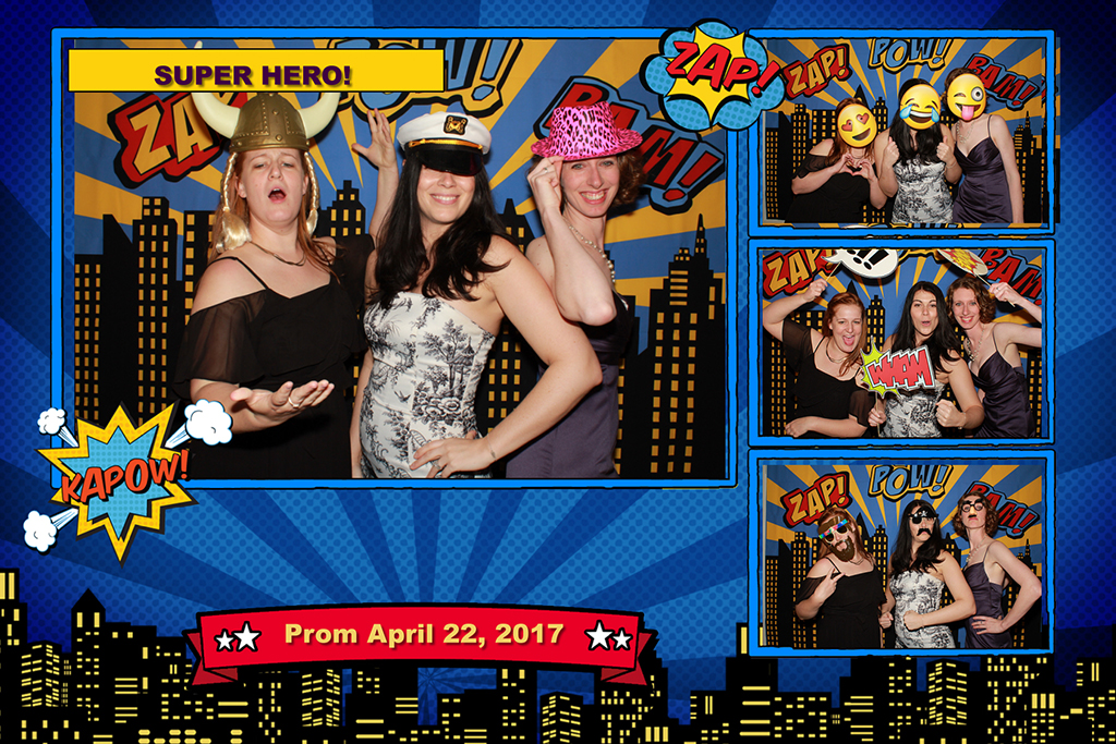 super hero photo booth picture with emojis